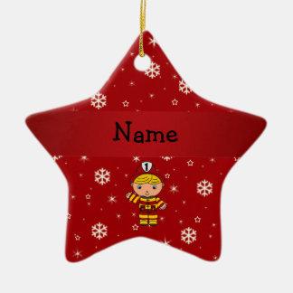 Copos de nieve conocidos personalizados del rojo adorno navideño de cerámica en forma de estrella