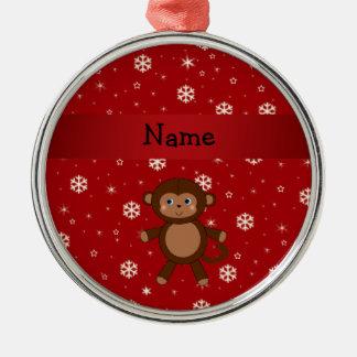 Copos de nieve conocidos personalizados del rojo adorno navideño redondo de metal