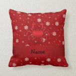 Copos de nieve conocidos personalizados del rojo almohadas