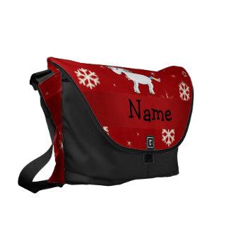 Copos de nieve conocidos personalizados del rojo d bolsas de mensajería
