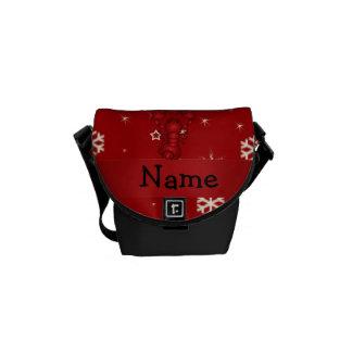 Copos de nieve conocidos personalizados del rojo d bolsas de mensajeria