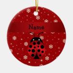 Copos de nieve conocidos personalizados del rojo d adornos de navidad