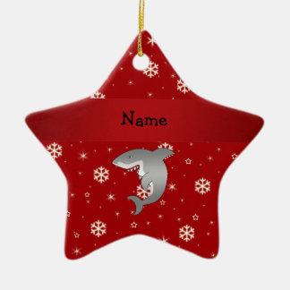 Copos de nieve conocidos personalizados del rojo d ornamentos de navidad