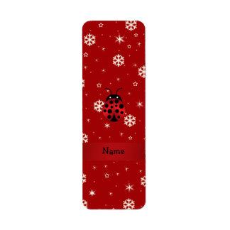 Copos de nieve conocidos personalizados del rojo d etiqueta de remite