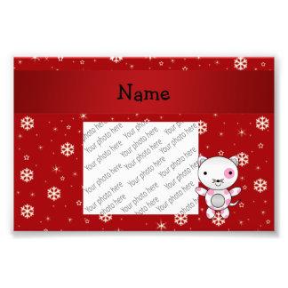Copos de nieve conocidos personalizados del rojo d impresión fotográfica