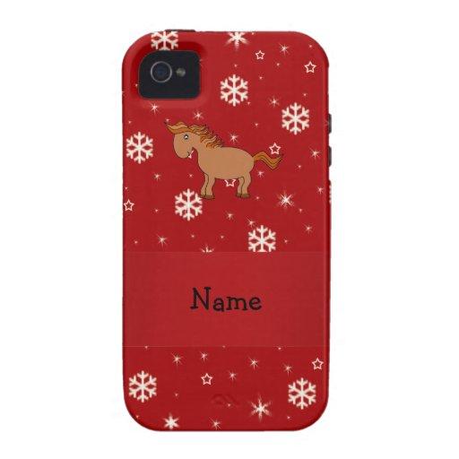 Copos de nieve conocidos personalizados del rojo d Case-Mate iPhone 4 funda