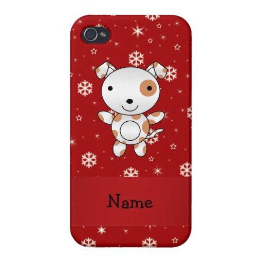 Copos de nieve conocidos personalizados del rojo d iPhone 4/4S fundas