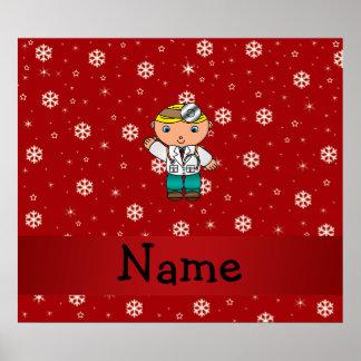 Copos de nieve conocidos personalizados del rojo d poster