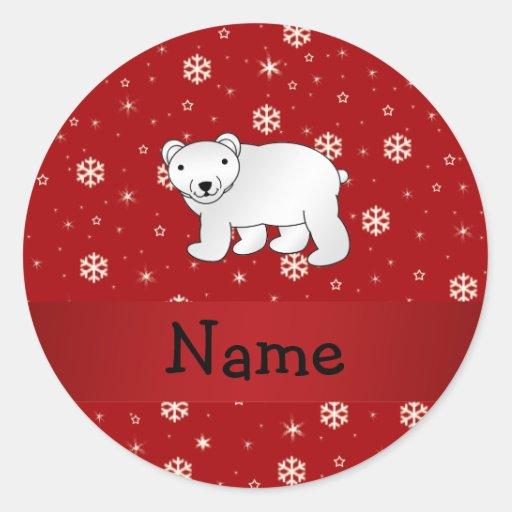 Copos de nieve conocidos personalizados del rojo d etiqueta redonda