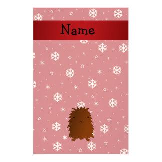 Copos de nieve conocidos personalizados del rojo d personalized stationery
