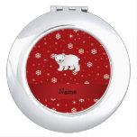 Copos de nieve conocidos personalizados del rojo d espejo para el bolso
