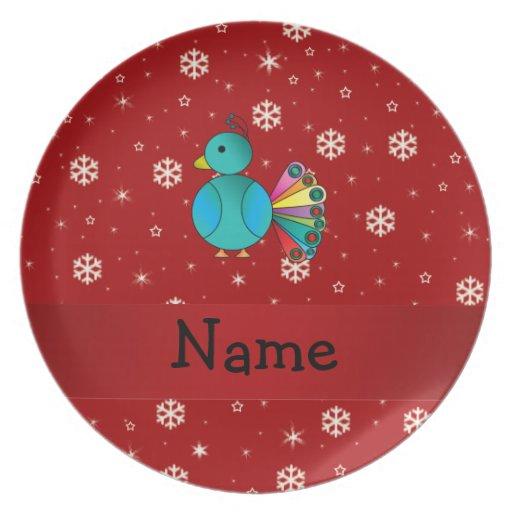 Copos de nieve conocidos personalizados del rojo d platos