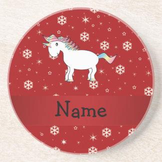 Copos de nieve conocidos personalizados del rojo d posavasos personalizados