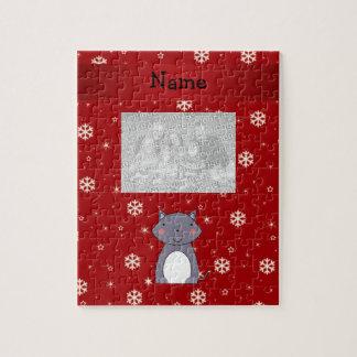 Copos de nieve conocidos personalizados del rojo d rompecabeza con fotos