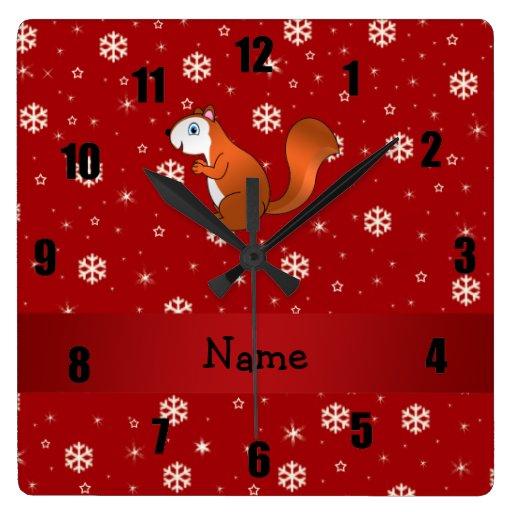 Copos de nieve conocidos personalizados del rojo d relojes de pared