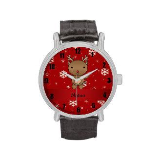 Copos de nieve conocidos personalizados del rojo d reloj
