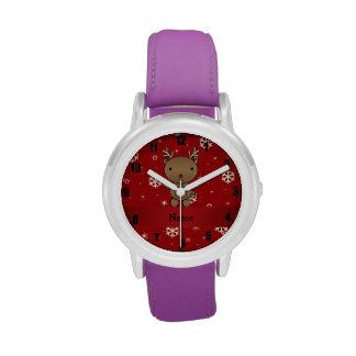 Copos de nieve conocidos personalizados del rojo d relojes