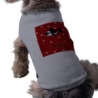 Copos de nieve conocidos personalizados del rojo d playera sin mangas para perro