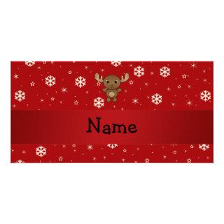 Copos de nieve conocidos personalizados del rojo d tarjetas con fotos personalizadas