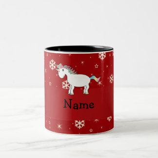 Copos de nieve conocidos personalizados del rojo d taza dos tonos