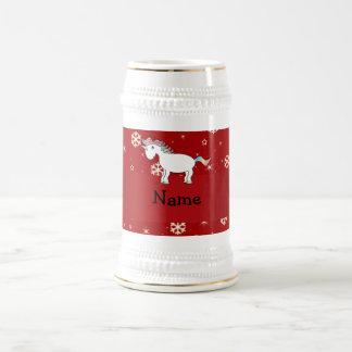 Copos de nieve conocidos personalizados del rojo d jarra de cerveza