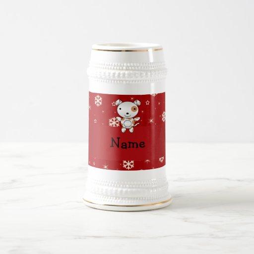 Copos de nieve conocidos personalizados del rojo d tazas de café
