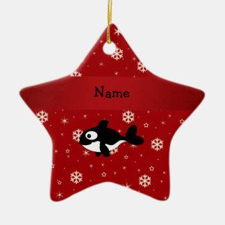 Copos de nieve conocidos personalizados del rojo adorno de cerámica en forma de estrella