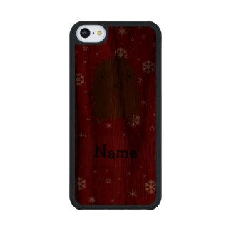 Copos de nieve conocidos personalizados del rojo funda de iPhone 5C slim nogal