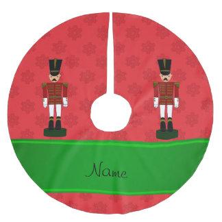 Copos de nieve conocidos personalizados del rojo falda de árbol de navidad de poliéster