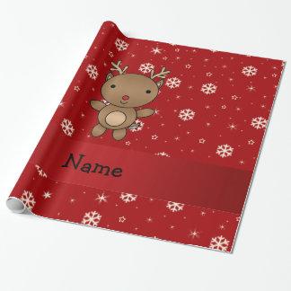 Copos de nieve conocidos personalizados del rojo papel de regalo