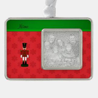 Copos de nieve conocidos personalizados del rojo marcos de adorno plateado
