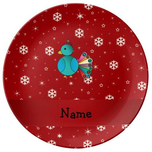 Copos de nieve conocidos personalizados del rojo platos de cerámica