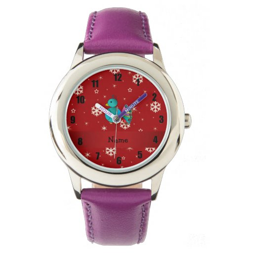 Copos de nieve conocidos personalizados del rojo relojes de pulsera