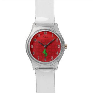 Copos de nieve conocidos personalizados del rojo reloj de mano