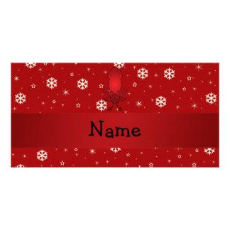 Copos de nieve conocidos personalizados del rojo tarjeta fotográfica personalizada
