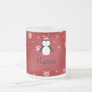 Copos de nieve conocidos personalizados del rojo taza de cristal