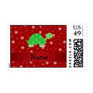 Copos de nieve conocidos personalizados del rojo timbre postal