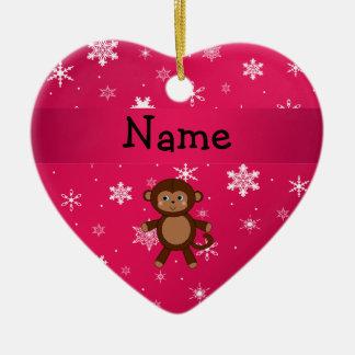 Copos de nieve conocidos personalizados del rosa adorno navideño de cerámica en forma de corazón