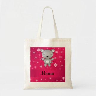 Copos de nieve conocidos personalizados del rosa bolsa tela barata
