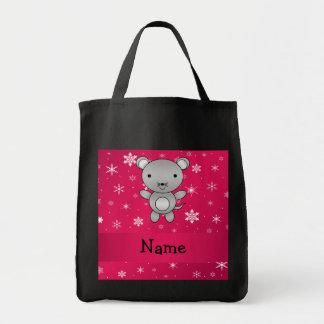 Copos de nieve conocidos personalizados del rosa bolsa tela para la compra
