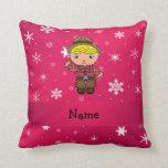 Copos de nieve conocidos personalizados del rosa almohadas