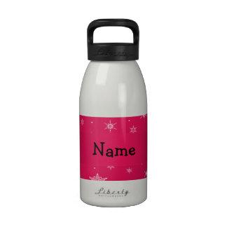 Copos de nieve conocidos personalizados del rosa d botellas de agua reutilizables