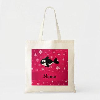 Copos de nieve conocidos personalizados del rosa d bolsa tela barata