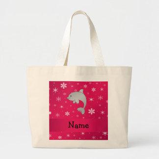 Copos de nieve conocidos personalizados del rosa d bolsa tela grande