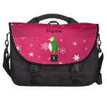 Copos de nieve conocidos personalizados del rosa d bolsas para portátil