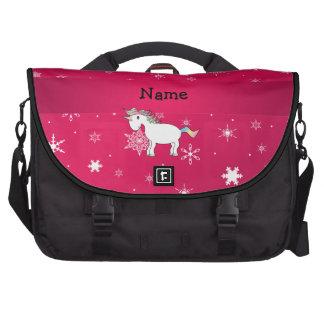 Copos de nieve conocidos personalizados del rosa d bolsas de ordenador