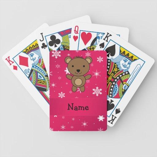 Copos de nieve conocidos personalizados del rosa d cartas de juego