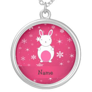 Copos de nieve conocidos personalizados del rosa d collar plateado
