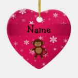 Copos de nieve conocidos personalizados del rosa d ornaments para arbol de navidad