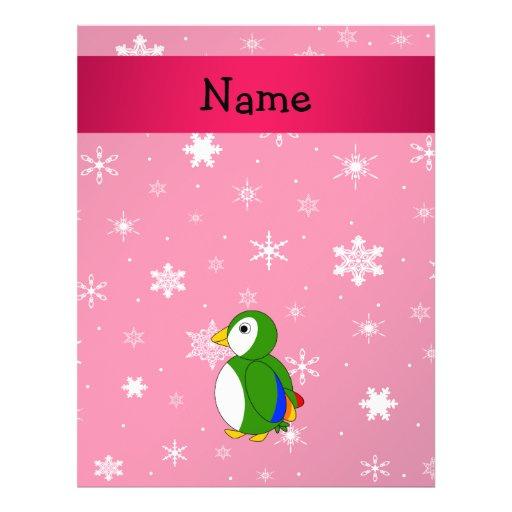 Copos de nieve conocidos personalizados del rosa d tarjeta publicitaria